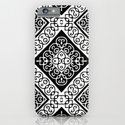 Black and White Floral Square Design Print iPhone & iPod Case