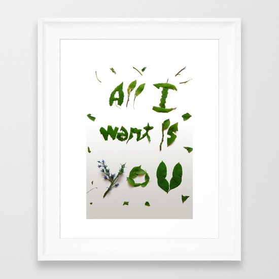 "Visual Proposal by Ethan Park ""All want is you"" Framed Art Print"
