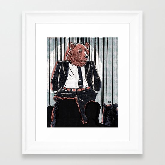Bear Political Leader Addresses Clothes Controversy Framed Art Print
