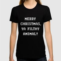 Home Alone – Merry Chr… Womens Fitted Tee Black SMALL