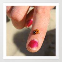 Ladybug On A Lady's Finger Art Print