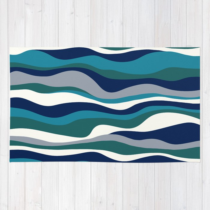 Cordillera stripe teal navy combo rug by eileen paulino for Navy and teal rug