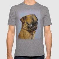 Pug Puppy Mens Fitted Tee Tri-Grey SMALL