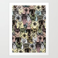 Just Cats Retro Art Print