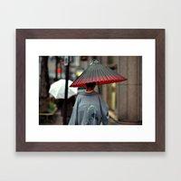 Geisha Walking Framed Art Print