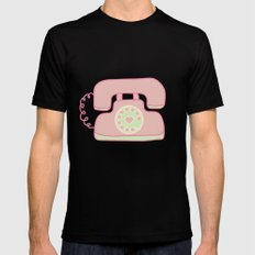 Retro Phone - Pink Mens Fitted Tee Black SMALL