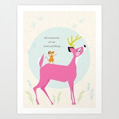 Deer & Mouse Singing Art Print