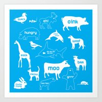 Animal Noises in Blue Art Print