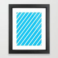 Blue & White Stripes Framed Art Print