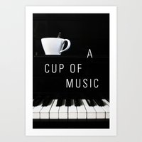 Piano & Coffee Art Print