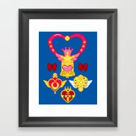 Framed Art Print featuring Pixel Moon Brooches by Ashley Hay