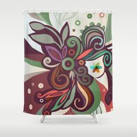 Floral Curves II Shower Curtain