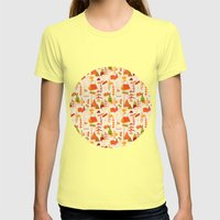 woods pattern Womens Fitted Tee Lemon SMALL