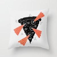 Lazer Pizza Throw Pillow
