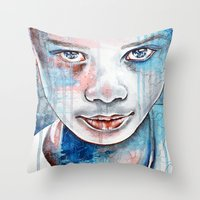 When the rain washes you clean, watercolor illustration Throw Pillow
