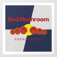 Red Mushroom Energy Boost Art Print