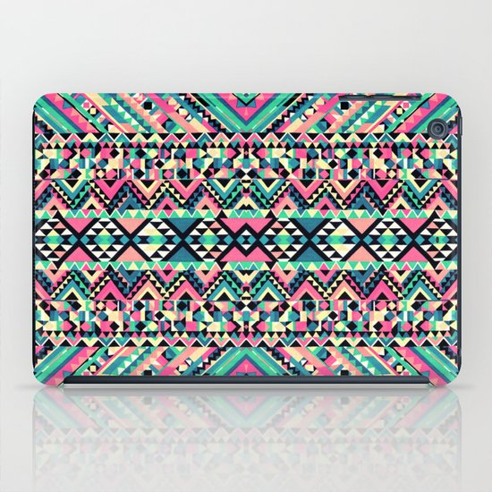 Pink Turquoise Girly Aztec Andes Tribal Pattern iPad Case