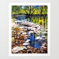 Reflections in the shallow River Art Print