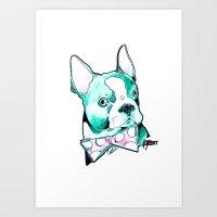 Bow Tie BostonTerrier Art Print