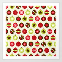 Christmas Baubles Art Print