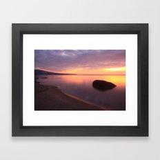 Fiery Sunset over the Porkies Framed Art Print