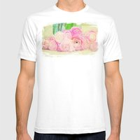 Pretty Pink Posies -- Abstract Painterly Floral with Ranunculus Stylized Mens Fitted Tee White SMALL