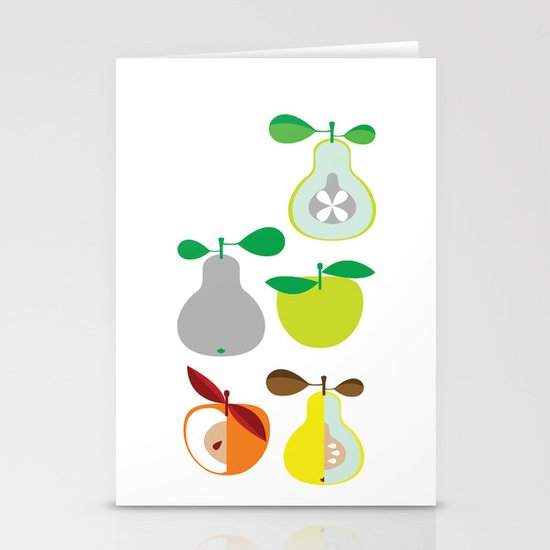 Apples and Pears / Geometrical 50s pattern of apples and pears Stationery Card