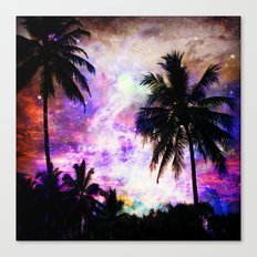 Nebula Palm Trees Canvas Print