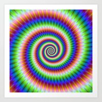 Green Blue Red and Yellow Spiral Art Print