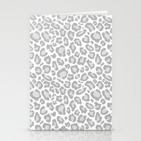 Grey Leopard Print Stationery Cards
