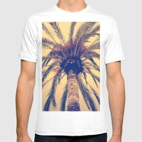 Tenerife Palm Tree Mens Fitted Tee White SMALL