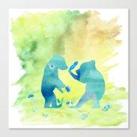 Playing Bear Kids I Canvas Print