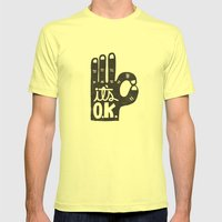 IT'S OKAY Mens Fitted Tee Lemon SMALL