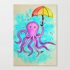 Octopus and Umbrella - watercolor Canvas Print