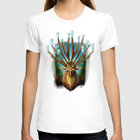 Princess Mononoke The Deer God Shishigami Tra Digital Painting. T-shirt