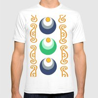 Chinese Pattern Mens Fitted Tee White SMALL