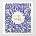 Treat Yo Self – Gold & Navy Art Print