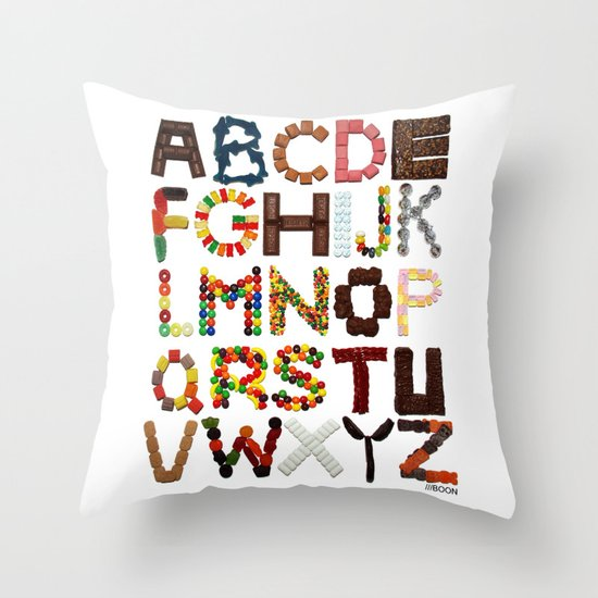 Candy Alphabet Throw Pillow