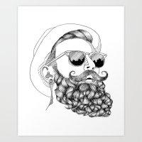 beard & sunglasses Art Print