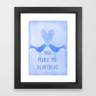 Heartbeat Blue Framed Art Print