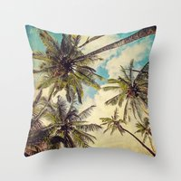 Vintage Blue Hawaii Palm… Throw Pillow