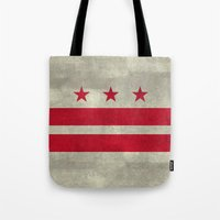 Washington D.C flag with worn stone marbled patina Tote Bag