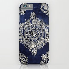 Cream Floral Moroccan Pattern on Deep Indigo Ink iPhone 6 Slim Case
