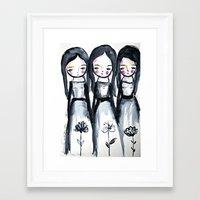 3 girls black and white Framed Art Print