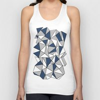 Abstraction Lines with Navy Blocks Unisex Tank Top