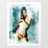 Jessica Biel Digital Painting Portrait Art Print