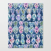 NAVY TRIBAL PINEAPPLES Canvas Print