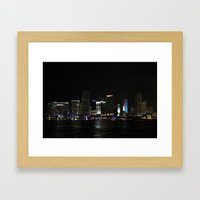 Miami Skyline at Night Framed Art Print