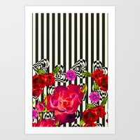 Flowers With Stripes And… Art Print