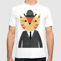 Ginger Cat in a Bowler Hat Mens Fitted Tee White SMALL